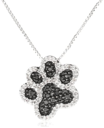 Sterling Silver and Black and White Diamond Dog