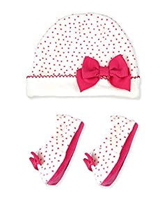 Kate Spade Baby Girl's Layette Cap & Bottie, One Size, Cream/Vivid Snapdragon