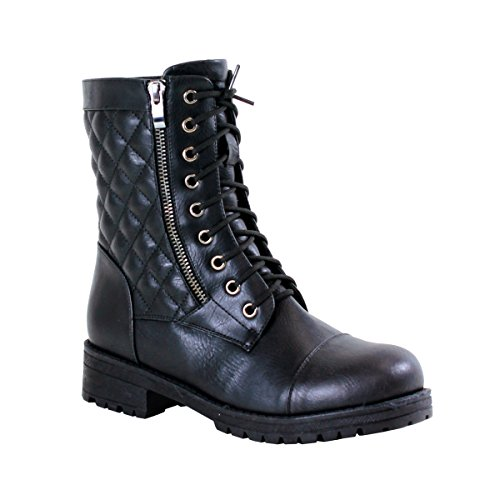 Reneeze Lucky-01 Womens Fashionable Mid-Calf Lace-Up Combat Boots - Black, Size 10