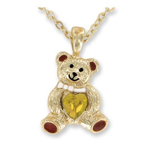 Teddy Bear Birthstone Necklace - NOVEMBER - faux citrine Golden Topaz - 1