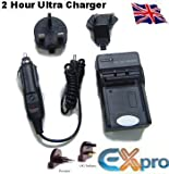 Ex-Pro NB-2L, NB-2LH, NB2L, NB-2LH, NB2LH, CB-2LTE, BP-2L12, BP2L12, BP-2L13, BP-2L14, NB-2L12 Digital Camcorder Battery Travel Charger, UK, USA, Canada & Europe - 2 Hour Fast Charge for Canon Camcorders MV5, MV5i, MV5iMC, MV6iMC, MV790, MV800, MV800i, M