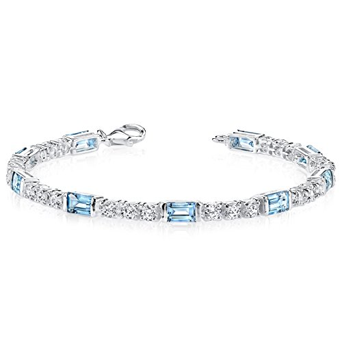 London Blue Topaz Bracelet Sterling Silver Rhodium Nickel Finish 5.75 Carats Baguette Cut