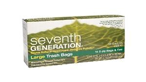 2-Ply Trash Bags, Large, 15 Bags & Ties, 33 gal, 2 ft 9 in x 3 ft 4 in x .85 mil