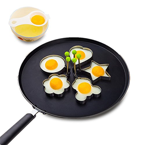 Fried Egg Molds,Amytalk 5-Shapes Stainless Steel Egg Shaper Non Stick Pancake Mold Rings with Two Bonus Egg Separators Kitchen Tool for Kids and Lovers