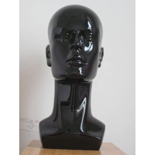 New Black Male Mannequin Head for Fashion Wig/hat/jewelry Shining Display 38cm