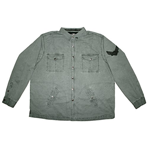 BIG & TALL Harley Davidson Motorcycles Mens Snap Front Quilted Thermal Shirt Jacket 3XL Grey (Quilted Thermal Jacket compare prices)