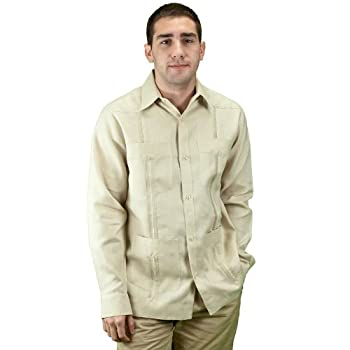 Mens beach wedding apparel guayabera shirt, natural.