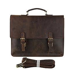 Everdoss Mens Genuine Leather Office Laptop Handbag Business Briefcase Casual Tote Shoulder Messenger Bag Fits Tablet PC Document Notebook
