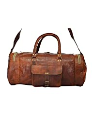 Real Goat Leather Handmade Travel Luggage Vintage Overnight Genuine Duffel Bag