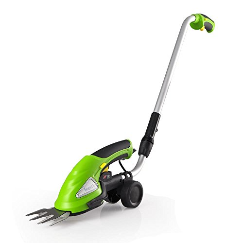 Why Should You Buy SereneLife Cordless Push Grass Cutter Shears, Wheeled Electric Hedge Shrubber Trimmer, 3.6V Rechargeable Battery (PSLGTM30)