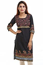 Aamii Women's Cotton Kurta(Aamii741_Black_XX-Large)