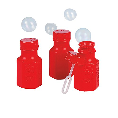 Fun Express Mini Hexagon Red Bubble Bottles (4 Dozen)