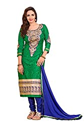 R K Exports Cotton Santoon Embroidered Semi-stitched Salwar Suit Dupatta Material