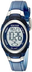 Armitron Sport Women's 45/7034TNV Digital Chronograph Oval Shaped Blue Translucent Resin Strap Watch