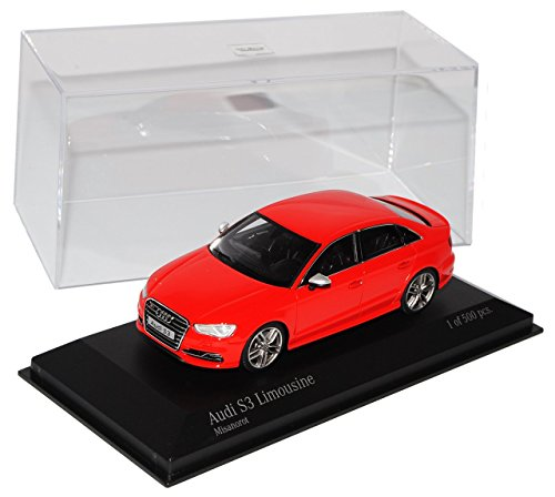 Audi-A3-S3-8V-Limousine-Rot-Ab-2013-143-Minichamps-Modell-Auto-mit-individiuellem-Wunschkennzeichen