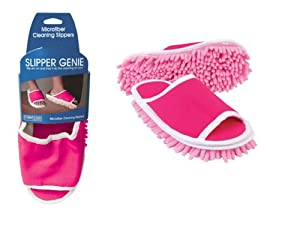 Pink Slipper Genie Microfiber Cleaning Slippers,(Sz 6-9)