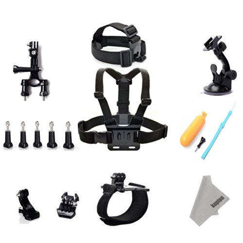 Kupton Gopro Accessories Set Kits Include Kupton Superfine Fiber Cloth +Head Strap +Chest Strap .+Yellow Hand Grip+ Wrist Strap+Handlebar Or Seatpost Mount+Suction Cup Holder + Chest Strap Mount Harness For Gopro Hero 1 2 3 3+