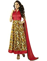 Aryan Fashion Designer Red & Multi Embroidery Faux Georgette Semi-Stitched Suit For Women & Girls Party Wear For...