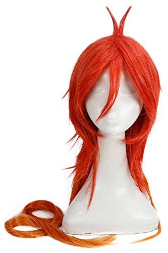 Nuotuo Mens Layered Long Gradient Adlet Mayer Cosplay Wig Red Fade Orange