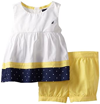 Nautica Baby-girls Infant 2 Piece Woven and Color Blocked Set, Yellow, 12 Months