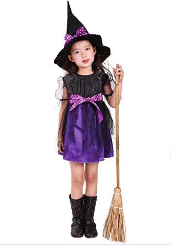魔女 衣装3点セット キッズコスチューム パープル 女の子 130cm-140cm