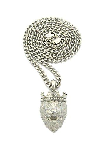 Crown King, a perno, con ciondolo a forma di testa di leone, 61 cm, 5 mm, collana bicolore in argento