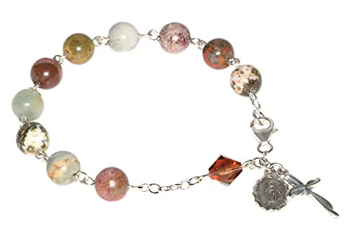 Sterling Silver Womens Rosary Bracelet made with Ocean Jasper Gemstones and Swarovski Crystal element (Gem Stone Rosary compare prices)