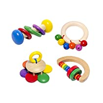 4-Pack Wooden Baby Musical Rattles - Activity Toy