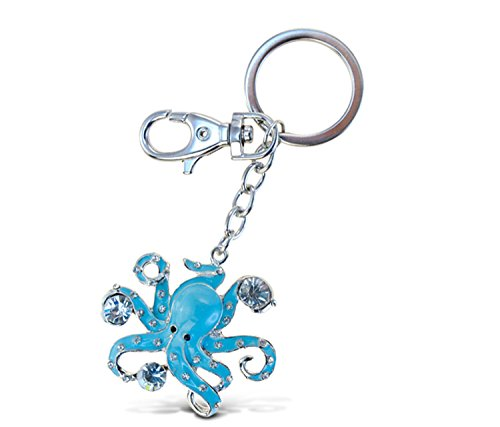 Puzzled Octopus Sparkling Charm Keychain