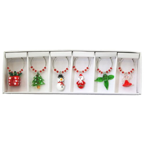 Glass Christmas Wine Charms