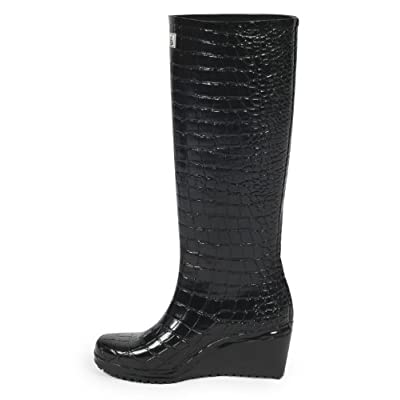 17o Ladies Black Hounds Tooth Wellington Boots Size 3-8