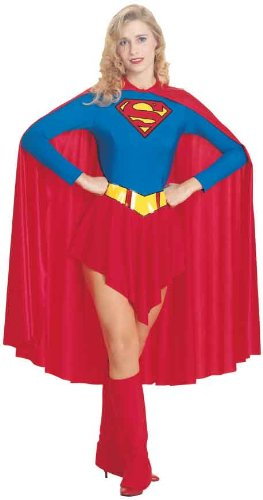 DC Comics Deluxe Supergirl Costume, Red/Blue, S, M, L
