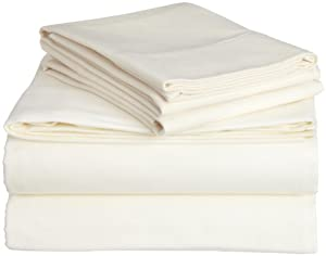 Pinzon Signature 190-Gram Cotton Velvet Flannel Sheet Set, Queen, Cream