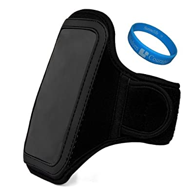 Click for Jet Black VG Water Resistant Hardcore Neoprene Workout Armband with 2 Piece Adjustable Velcro Strap for Verizon Motorola Droid RAZR MAXX HD / Motorola Droid RAZR HD Android Smartphones + SumacLife TM Wisdom Courage Wristband