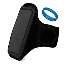 buy Jet Black Vg Water Resistant Hardcore Neoprene Workout Armband With 2 Piece Adjustable Velcro Strap For Samsung Ativ S Neo / Samsung Galaxy S4 / Galaxy S4 Active / Galaxy S4 Mini / Samsung Galaxy Win / Samsung Galaxy Express + Sumaclife Tm Wisdom Courage