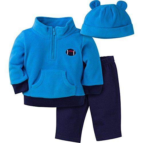 Gerber Boys' 3 Piece Micro Fleece Top Cap and Pant Set, Football, 6-9 Months