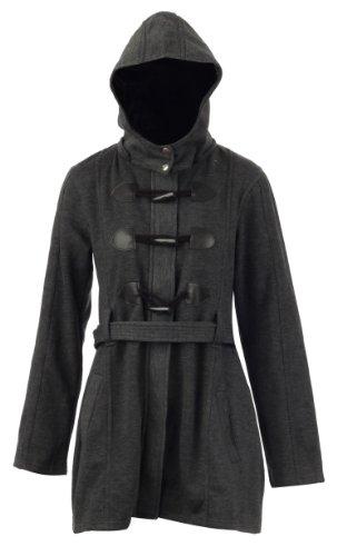 New Womens Hooded Fleece Self Tie Belt Duffle Jacket Coat / Size 8-14 -£14.99 (M (UK - 10), Charcoal)