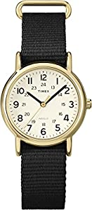 Timex Women's Quartz Watch with Beige Dial Analogue Display and Black Nylon Strap T2P476