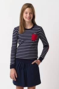 Girl's Long Sleeve Stripe Crewneck Sweater with Pocket Detail