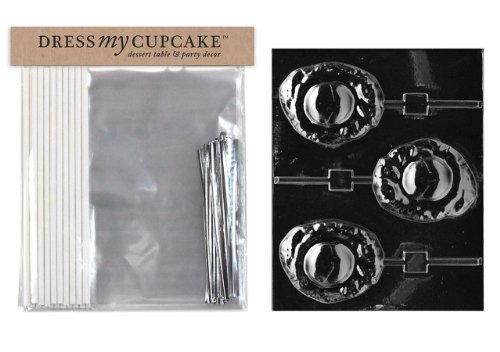 Dress My Cupcake DMCKITK021 Chocolate Candy Lollipop Packaging Kit with Mold, Fried Egg Lollipop