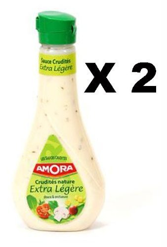 French Mild Sauce Salad Kind Extra Amora-Sauce Crudites Nature Extra Legere-2 Plastic Bottle Pack