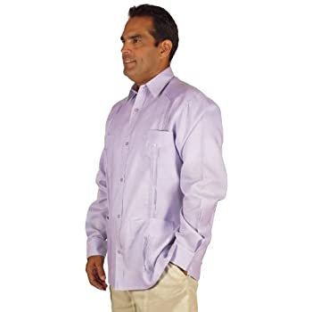 Linen long sleeve guayabera for men in lavender.
