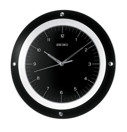 Seiko Wall Quiet Sweep Second Hand Clock Curved Glass Crystal BlackDial #QXA314KL