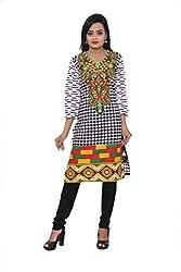 KIMYRAA Women's Cotton Kurta (KLK-1002-BLACK-S)
