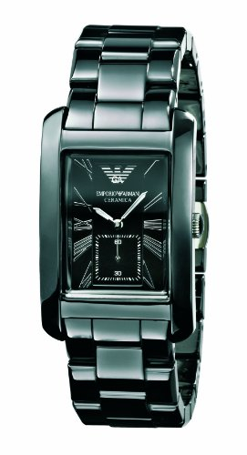 Emporio Armani Gents Black Ceramic, AR1406 Rectangle Black Dial  Watch