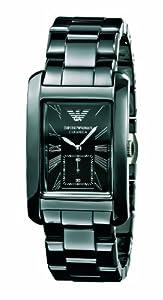 Emporio Armani Gents Black Ceramic, AR1406 Rectangle Black Dial  Watch