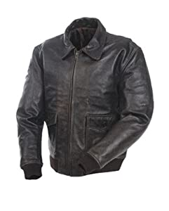 Mossi A-2 Bomber Black Men's Premium Leather Jacket by Mossi