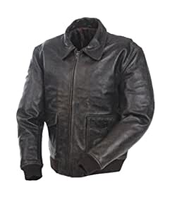 Mossi A-2 Bomber Men's Premium Leather Jacket (Brown, Size 48)
