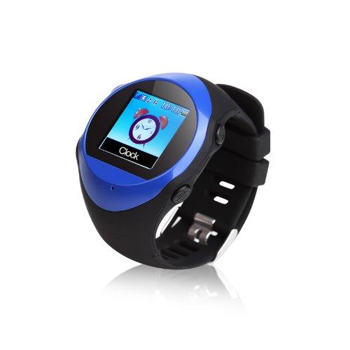 GPS Montre de sport Fitness avec fonction de MP3 Lecteur, Horloge, GPS poursuite et SOS d'appel d'urgence- Bleu