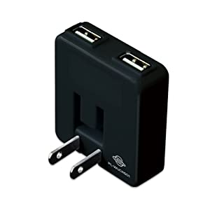 PLANEX「充電万能」2ポートUSB充電器ブラック PL-WUCHG01-B (iPod/iPhone5/4s/4/3GS/3G/Xperia/Galaxy/au/docomo/SoftBank/ウォークマン/PSP/DS/DSLite/Dsi 全ポート合計1A )